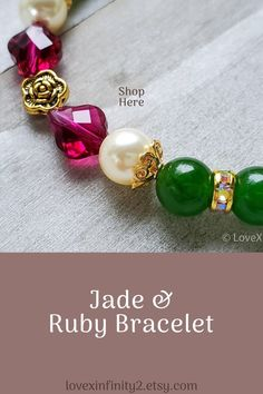 This beautiful green jade and Swarovski crystal bracelet is made with dark green Chinese jade gemstones, cream Swarovski pearls, and Swarovski Ruby Baroque beads Stretch Bracelet.  In Feng Shui, jade is known for harmony, balance, protection, good luck and prosperity.  Ruby is said to have the power to increase vitality, energy, and balance. It is a stone used to inspire passion, love and devotion. It is also said to brining prosperity, wealth an protection.