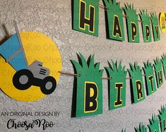 LAWN MOWER Party Happy Birthday with Age Banner