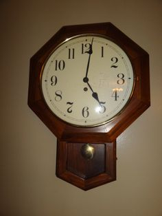 Vintage German Octagon Drop School House Wind Up Wall Clock For Sale Online by Antiquescove, $150.00