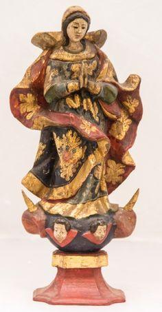 Imagem de madeira policromada, Nossa Senhora da Conceição. Bahia, século XIX. Alt. 32 cm. Não vendida. Base 1.000,00.