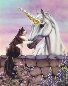 Two of My Favorite Things - Unicorn and Cat by Sue Dawe