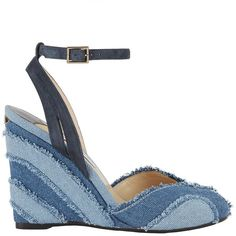 Jimmy Choo Women's Damon Frayed Denim Covered Wedge Sandals (2.100 BRL) ❤ liked on Polyvore featuring shoes, sandals, denim, leather sole sandals, denim sandals, peep-toe shoes, denim shoes and leather sole shoes