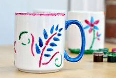 DIY stencil mugs