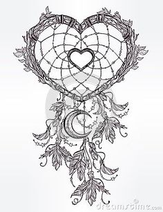 Illustration of Hand drawn romantic drawing of a heart shaped dream catcher, feathers and moon. Ethnic tattoo design with American Indians elements, tribal symbol. vector art, clipart and stock vectors. Dream Catcher Sketch, Dream Catcher Tattoo Design, Dream Catcher Art, Dream Catcher Coloring Pages, Dotwork Tattoo Mandala, Ethnic Tattoo, Romantic Drawing, Hand Tattoo, Tattoo Moon