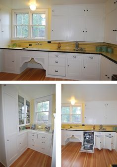 Restoring a vintage kitchen. The yellow tile is brighter then what would have originally used, colors then tended to pastel versions. The white cabinetry ,w/ black glass knobs, tile backsplash above black granite splash? 1930s Kitchen, Kitchen Redo, New Kitchen, Vintage Kitchen, Kitchen Remodel, Bungalow Kitchen, Craftsman Kitchen, White Kitchen Floor, Kitchen Flooring