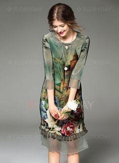 Платья - $79.85 - Винтажное платье из щелка длины по колено с цветочным принтом с рукавами 3/4 (1955106701)