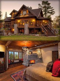 40 Log Cabins · Page 9 of 20 · Dream Home Design, My Dream Home, House Design, Patio Design, Log Cabin Homes, Log Cabins, Future House, My House, House Goals