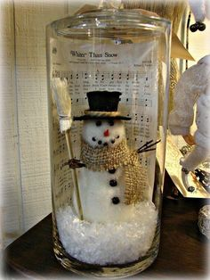 Snowman in a bottle. Make your own miniature snowman in a bottle with cotton and simple things you can find around the house like unused cloth, pins and even matchsticks.