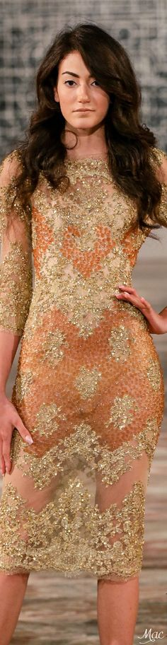 Fall 2015 Couture Toufic Hatab peach gold gown runway // Pinned by Dauphine Magazine x Castlefield - Curated by Castlefield Bridal Company & Branding Atelier and delivering the ultimate experience for the haute couture connoisseur! Visit www.dauphinemagazine.com, @dauphinemagazine on Instagram, and @dauphinemag on Pinterest • Visit Castlefield: www.castlefield.co and @ castlefieldco on Instagram / Luxury, fashion, weddings, bridal style, décor, travel, art, design, jewelry, photography…