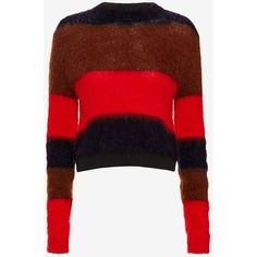 rag & bone Petra Striped Pullover ($325) ❤ liked on Polyvore featuring tops, sweaters, sweater pullover, pullover sweater, red top, crop top and long sleeve crop sweater