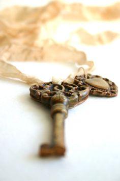 Vintage ribbon and key.