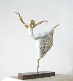 #Bronze Ballet Dancer Classical Dance Sculptures #sculpture by #artist Liubka Kirilova titled: 'Ballet-Dancer (Small Romantic Ballerina statuette)'. #art #sculptor #artwork #LiubkaKirilova