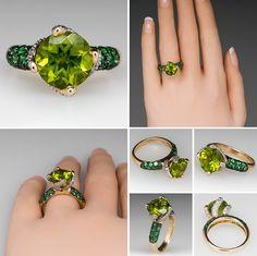 Stephanie Occhipinti Peridot & Tsavorite Ring Diamond Accents 14K Gold