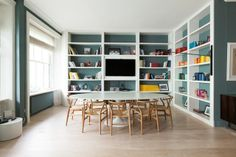 This shelving! White shelving with coloured walls. Fresh.