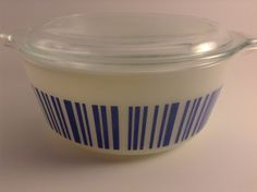 Rare Vintage Pyrex Barcodes Blue on White 472 with lid HTF