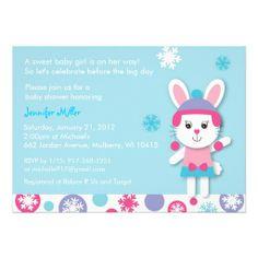 Winter Bunny Snow Baby Shower Invitations