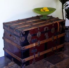 The search is on for a vintage steamer trunk in good condition to use as a coffee table in our living room.