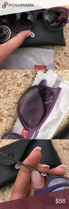 RayBan Erika with silicone purple frame! IN PERFECT CONDITION. I have 5 pairs of raybans and just never wore these as much so they've been sitting in my closet. They're such a great pair of sun glasses! & They look great with spring/ summer outfits! If you're worried about the fit of them, sunglass hut adjusts for free! :) Ray Ban Accessories Sunglasses