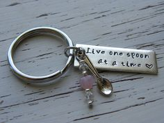 Live one spoon at a time - key chain - spoonie - silver bar - hand stamped - spoon charm - Swarovski crystals and glass pink heart