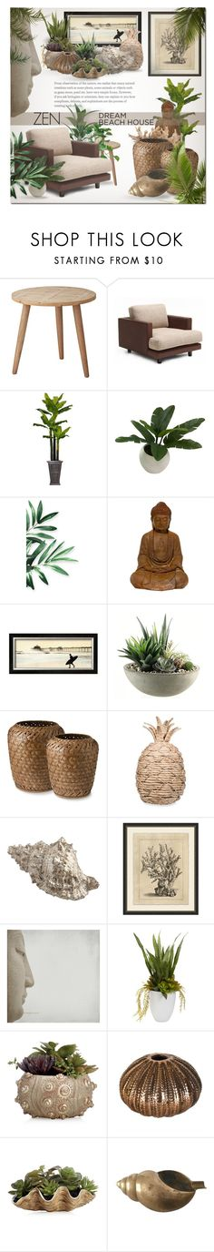 """Zen Beach House"" by ayelmaoki ❤ liked on Polyvore featuring interior, interiors, interior design, home, home decor, interior decorating, Lene Bjerre, Knoll, Laura Ashley and Threshold"