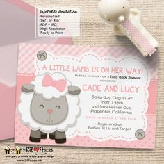Little Lamb Baby Shower Theme Printable DIY Invitation- Personalized Invite card DIY party printables will save you time and money while making your planning a snap!