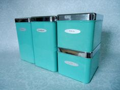 Turquoise Kitchen Tin Canister Set / 1950s Kitchen Storage Tins in Turquoise Blue / Mid Century Chrome and Turquoise Kitchen Canisters