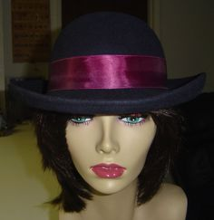 Vintage Navy Blue 100% Wool Hat with Upturned Brim by Designer's Touch