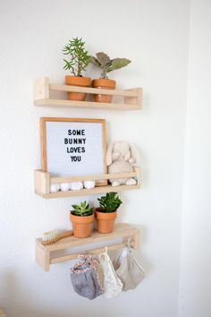Ikea Bekvam Spice Rack As Shelves In Boho Nursery - kinderzimmer Boho Nursery, Ikea Nursery, Bunny Nursery, Nursery Neutral, Nursery Room, Girl Nursery, Nursery Decor, Room Decor, Nursery Shelves