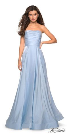 7865776be9 Strapless Ruched A-Line Iridescent Satin Gown by La Femme