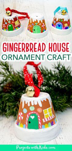 Christmas Arts And Crafts, Kids Christmas Ornaments, Christmas Gingerbread House, Preschool Christmas, House Ornaments, Christmas Fun, Holiday Crafts, Kids Christmas Activities, Gingerbread Man Crafts