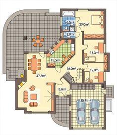 DOM.PL™ - Projekt domu HR Lawenda BP 2-garaże CE - DOM TZ9-48 - gotowy koszt budowy Architectural Design House Plans, Architect Design, Modern House Design, Tuscan House Plans, Dream House Plans, Bungalow Floor Plans, House Floor Plans, Home Design Plans, Plan Design