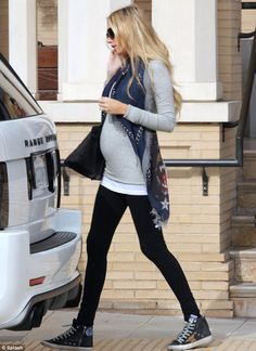 baby bump chic: Petra Ecclestone looks casual in grey jersey Cute Maternity Outfits, Stylish Maternity, Maternity Wear, Maternity Fashion, Maternity Leggings Outfit, Maternity Styles, Maternity Swimwear, Pregnancy Wardrobe, Pregnancy Outfits