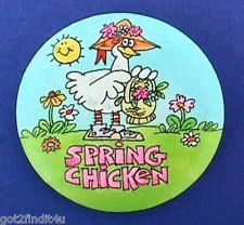 Hallmark PINBACK Easter SPRING CHICKEN Comical Funny 1980s Button PIN Holiday