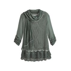 f2c5eaaf0bba2 Women s Tunic Top - Lacy Layered Sweater And Matching Knit Scarf - Blue -  Sm