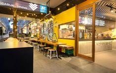 Guzman y Gomez Pizzeria Design, Restaurant Design, Blackboard Art, Dark Blue Living Room, Booth Seating, Dining Table Chairs, Bar, Luxury, Building