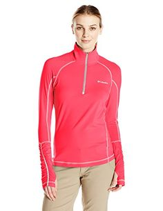 Columbia Womens Trail Flash Half Zip Shirt Punch PinkTradewinds Grey Large *** Check this awesome product by going to the link at the image.