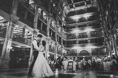 George Peabody Library Historic Wedding Venue Baltimore Maryland Wedding Reception First Dance  www.peabodyevents.library.jhu.edu