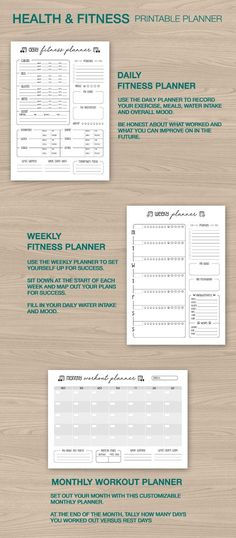 health fitness planner weight loss tracker printable journal daily