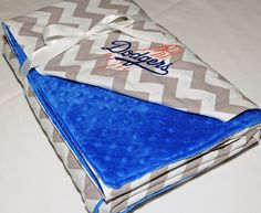 LA Dodgers Chevron Baby Crib Childrens Blanket by ColorCornerShop