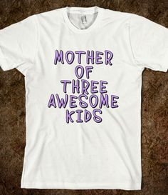 MOTHERS DAY Mother of 3 tee PURPLE FONT