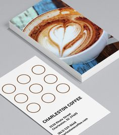 For The Love Of Froth: this simple design features a full image upload on the front to let all you latte artists show off your best pours. Spots on the back make an easy coffee loyalty card for repeat patrons. #moocards #businesscard