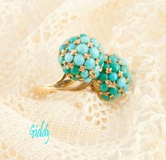 18k Gold & Turquoise in a Variety of Shades Ring, *Double-Dome * Style, Mid-Century Date.