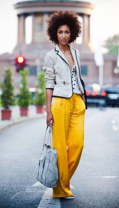 bright yellow pants + structured blazer