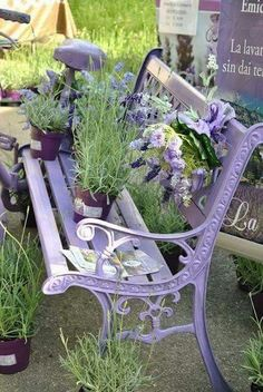 Lovely old purple Park Bench
