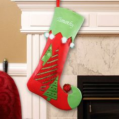 Christmas Tree Embroidered Stocking by GiftsForYouNow on Etsy