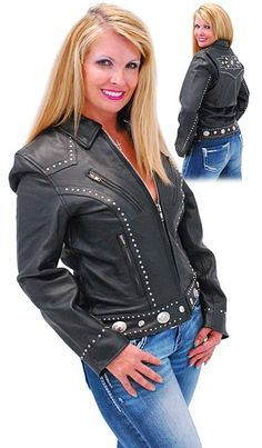 NEW! $179.99  Sexy studded leather jacket for women with mini studs and conchos on both front and back. A flashy ladies studded leather jacket with four zip front pockets, bi-swing shoulder, zip out lining and snap down collar.