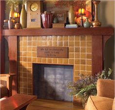 Stickley Mission Oak with Faux Fireplace Insert
