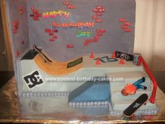 Homemade Skatepark Cake: This is a Skatepark birthday cake that my mom and I made for my brother's 13th birthday. It is a chocolate devil's food cake, covered in gray fondant and