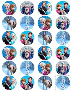 "Disney Frozen Edible Photo Cup Cake Toppers Set of 24 1 5"" Free SHIP 