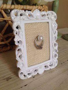 Shabby chic Wedding Ring Frame by Downtownalyshop on Etsy https://www.etsy.com/listing/226822691/shabby-chic-wedding-ring-frame